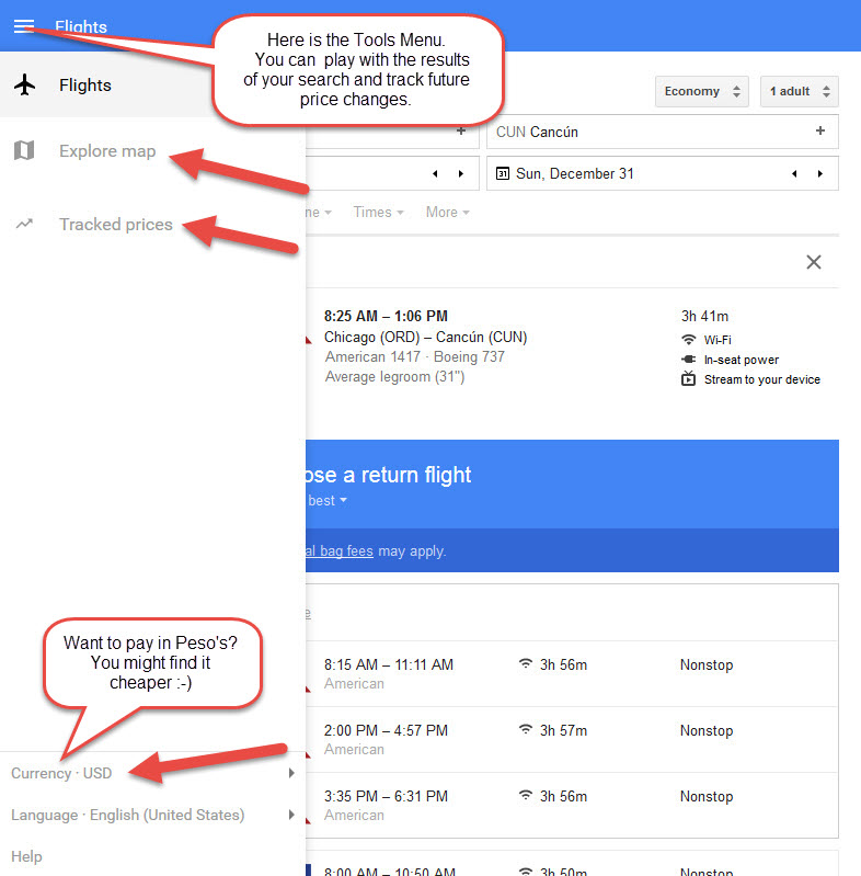 Google Flight Search Tools Menu