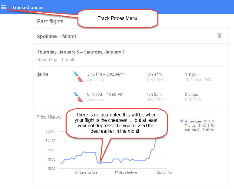 Google Flight Search - Track Price