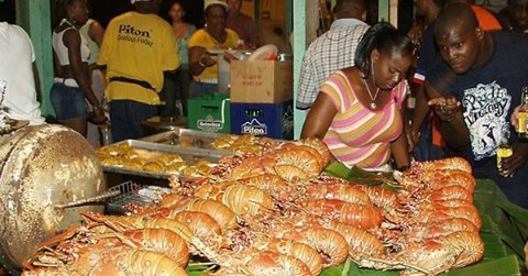Lobster Display at Anse La Ray Seafood Friday