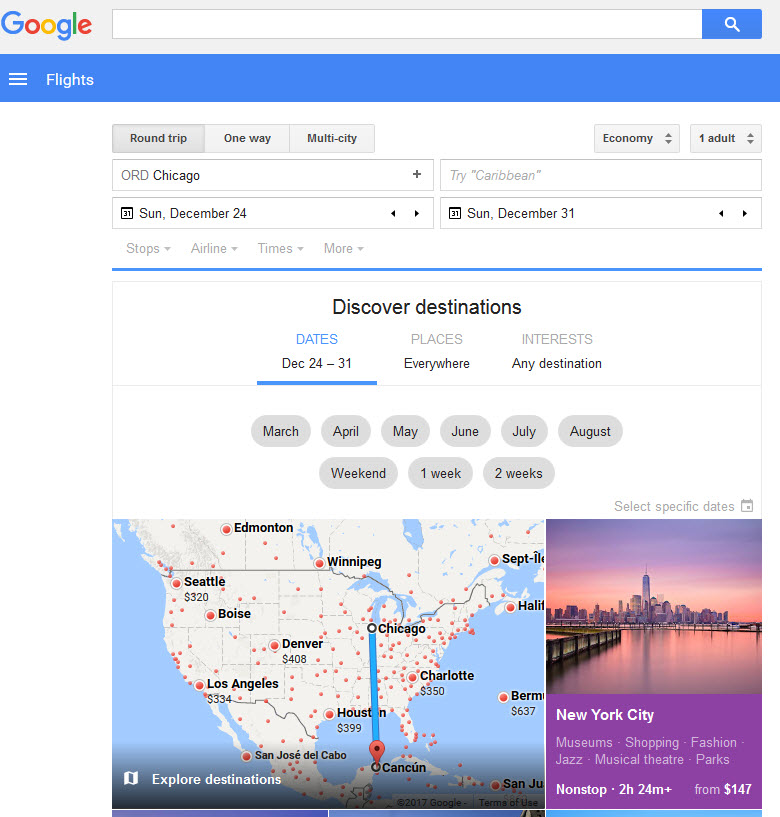 Google Flight Search Homepage