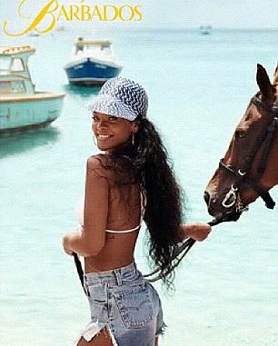 Rihanna on Barbados Beach with Horse