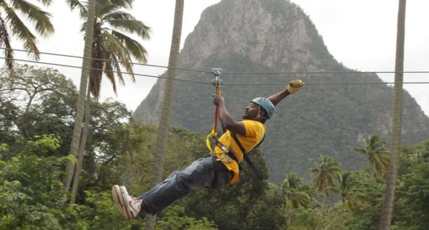Zip lining at Coconut Bay Resort