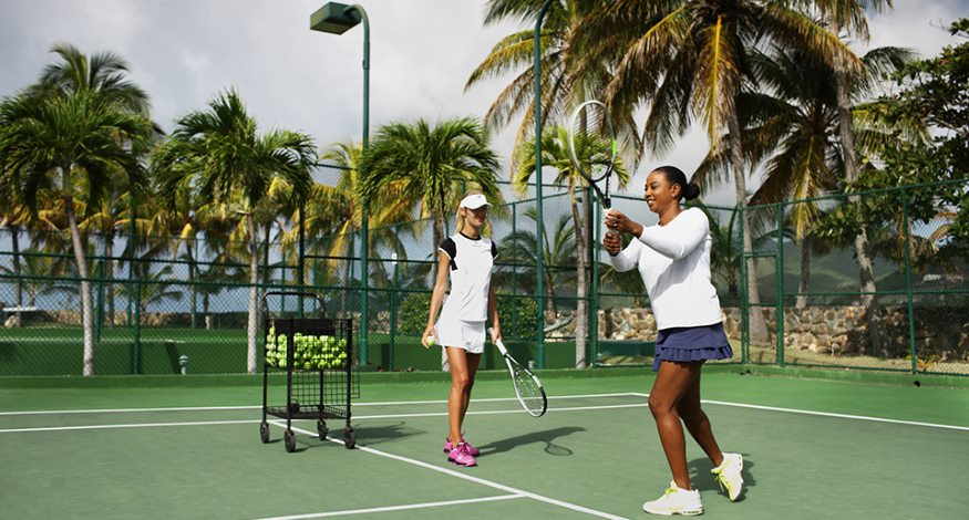 Tennis coaching at Curtain Bluff resort in Antigua
